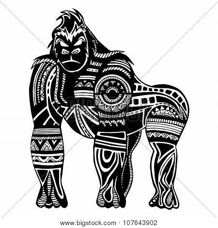 Ethnic black gorilla silhouette.