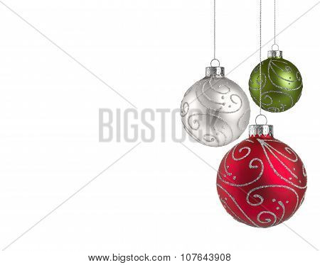 Christmas Baubles With Copy Space..