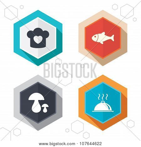 Chief hat, cooking pan icons. Fish and mushrooms