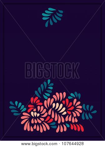 Pastel colored stylized flowers and leaves bouquet on dark, vector template