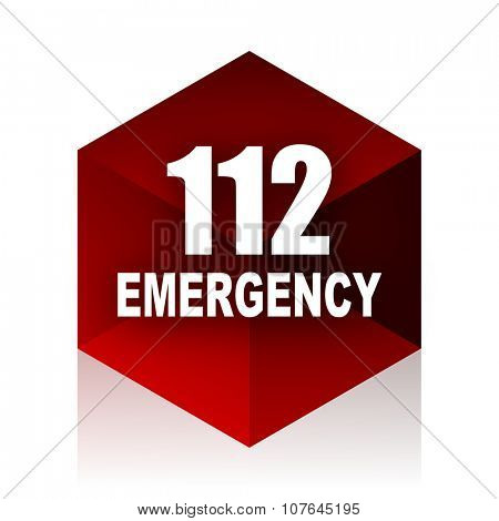 number emergency 112 red cube 3d modern design icon on white background