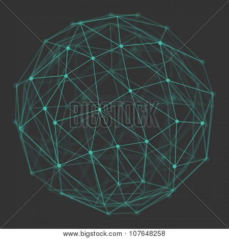 Polygonal 3d vector globe with connecting dots and lines. Low poly abstract background. Design element for futuristic designs, communication and connection related  backgrounds.