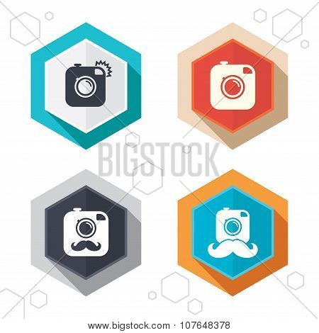 Hipster photo camera with mustache icons.