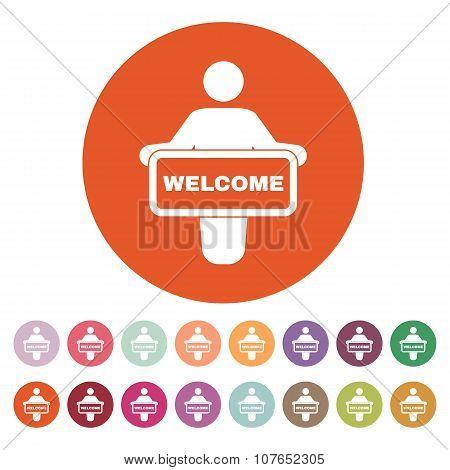 The welcom icon. Invite symbol. Flat
