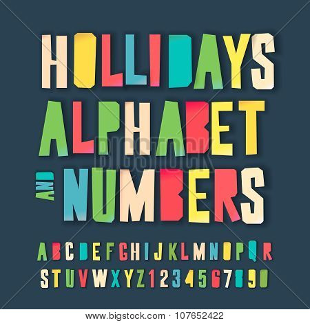 Holidays colorful alphabet and numbers