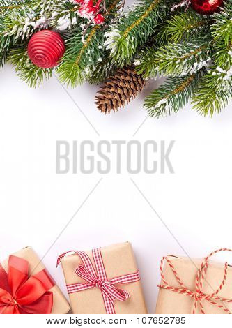 Christmas tree branch and gift boxes. Isolated on white background
