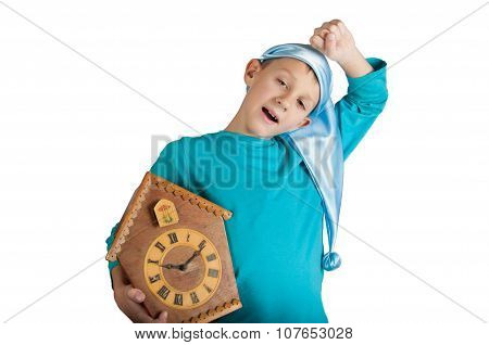 Cute Boy Holding Clock Isolated On White