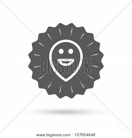 Happy face map pointer symbol. Smile icon.