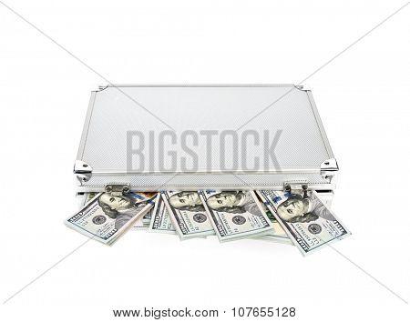 Suitcase of money with hundred dollar on white  background