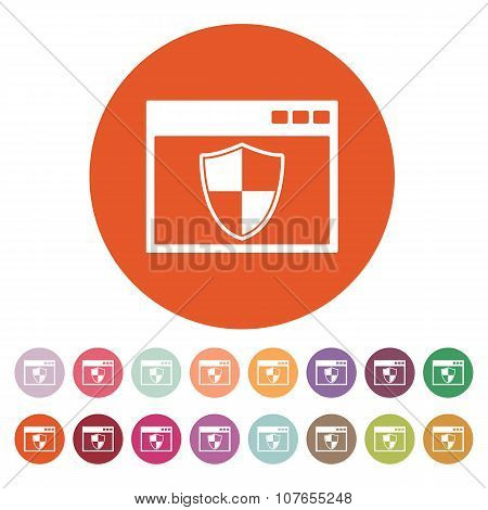 The antivirus icon. Firewall and safety, protection, website symbol. Flat