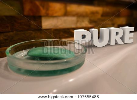 Pure word in 3d letters on a bath tub with soap dish to illustrate getting clean, purified or washed to be all natural
