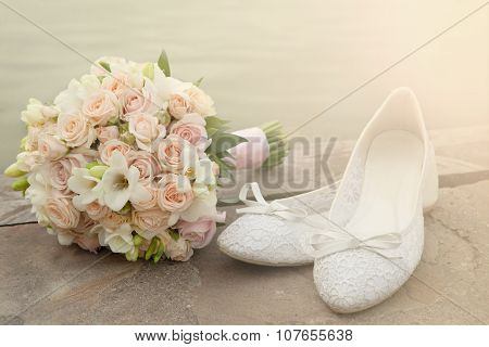 Bouquet And Bride Shoes Closeup