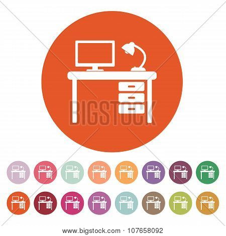 The table icon. Workplace and job, office, working symbol. Flat