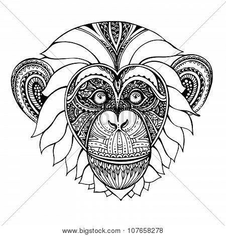 Hand Drawn Monochrome Vector Illustration Of Ornate Zentagle Chimpanzee Monkey.