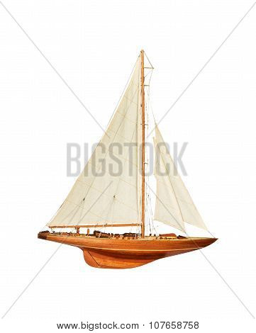 Sailboat Under The White Isolated Background