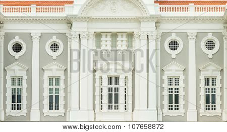 Windows And Doors Of Old Buildings On Background.