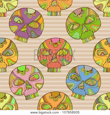 Mexican Dia De Los Muertos Calavera, Vector Day Of The Dead Skull Seamless Pattern, Colorful Skull