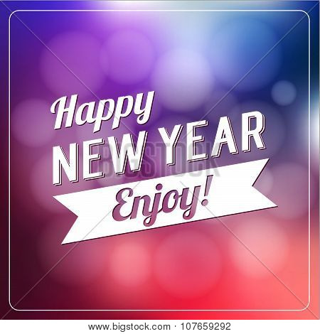 Happy New Year Logotype Design Label On Defocus Background. Holidays Lettering