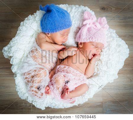 newborn twins - a boy and a girl sleeping