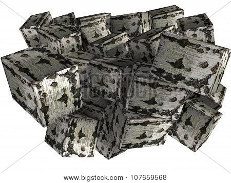 abstract birch briquettes, firewood 3D