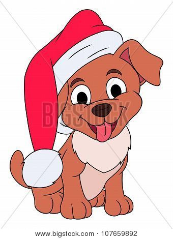Little puppy with Santa hat
