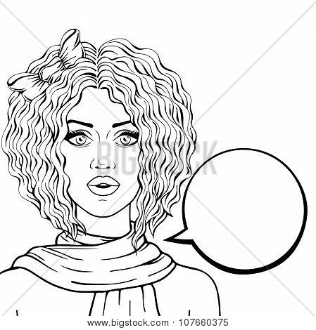 Curly hair young woman with think bubble outlined on white background vector illustration