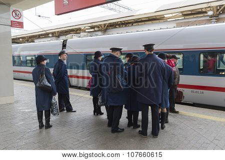 MOSCOW, RUSSIA -01.11.2015. Conductor worth about High-speed train at Kursky station