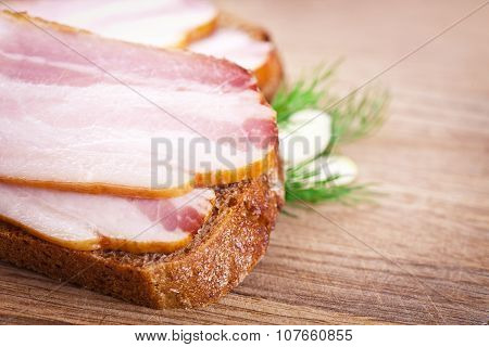 Sandwich With Raw Bacon