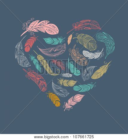 Bohemian style poster with gypsy colorful feathers, arranged in heart