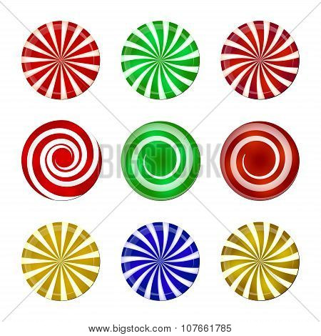 Christmas Striped Candy Set. Spiral Sweet Mint Goody With Stripes. Vector Illustration Isolated On A