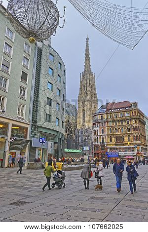 St Stephan Cathedral In Graben Street Of Vienna In Austria With Christmas Decoration In The Street