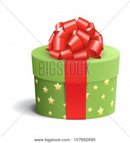 Green Celebration Gift Box With Red Bow Isolated On White