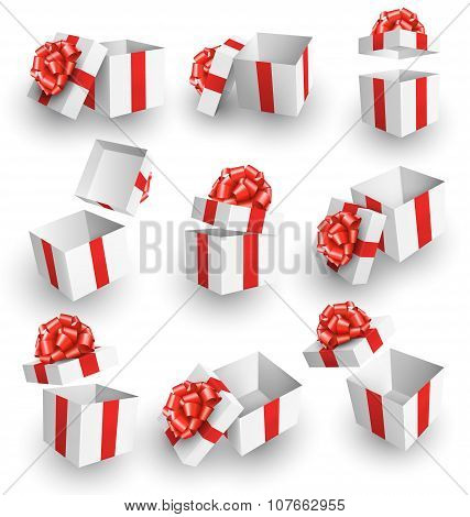 Set Collection Of White Celebration Gift Boxes With Red Bows Iso