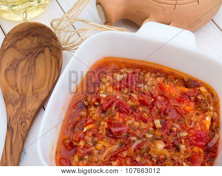 Baked Feta Cheese With Tomatoes, Onion, Garlic, Olive Oil And Herbs