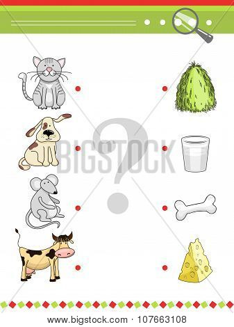 Matching game for preschool children book. Cartoon vector animals and their food