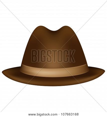 Headdress Brown Fedora Isolated On White