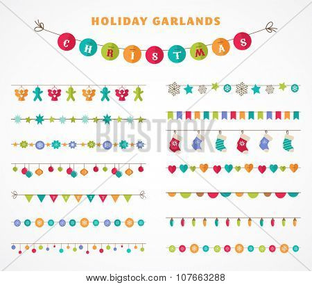 Garland - patterns, brushes, borders for Christmas and party