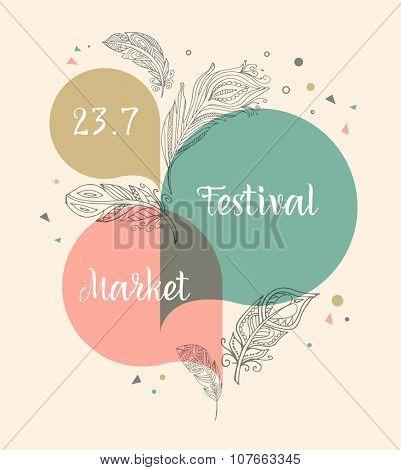 Festival bohemian, tribal, ethnic poster