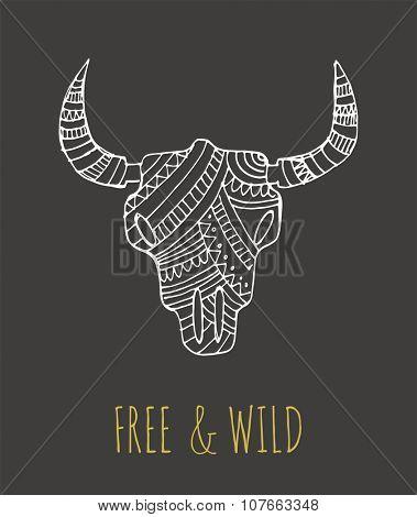 Bohemian style Bull Skull poster