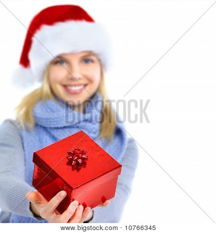 Happy Woman With Christmas Present