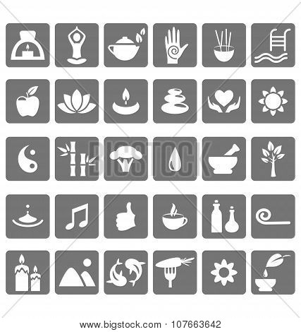 Spa Yoga Zen Flat Icons Isolated On White