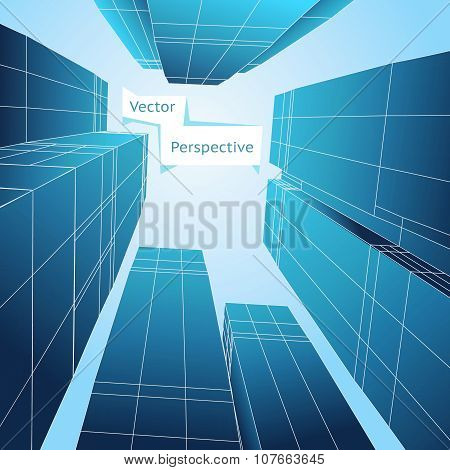 Perspective 3d building. Abstract vector poster