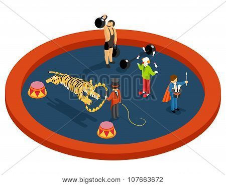 Isometric 3d circus characters. Animal trainer with athlete, magician and clown