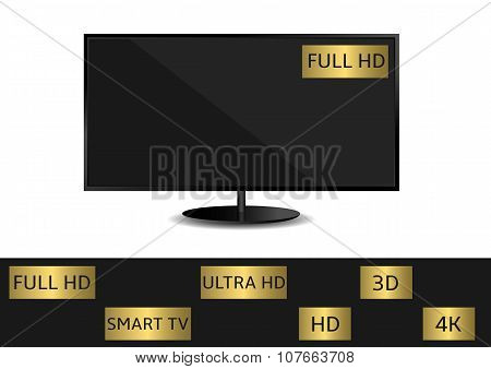 TV set with labels