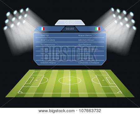 Floodlighting soccer field with scoreboard