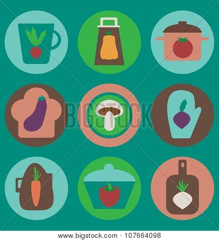 Multicolored Kitchen Icons Set On Cyan