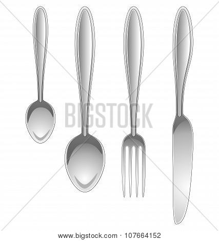 Silver Kitchen Table Utensils Isolated On White