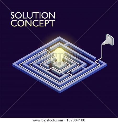 Isometric Maze With Electric Light, Labyrinth Solution Concept. Modern Infographic Template. Isometr