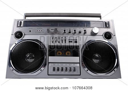 1980's Silver Retro Ghetto Radio Boom Box Isolated On White