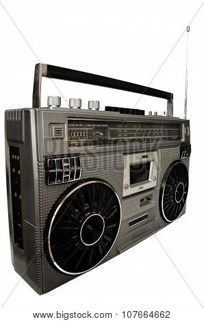 1980S Silver Retro, Boom Box And Headphone Isolated On White.